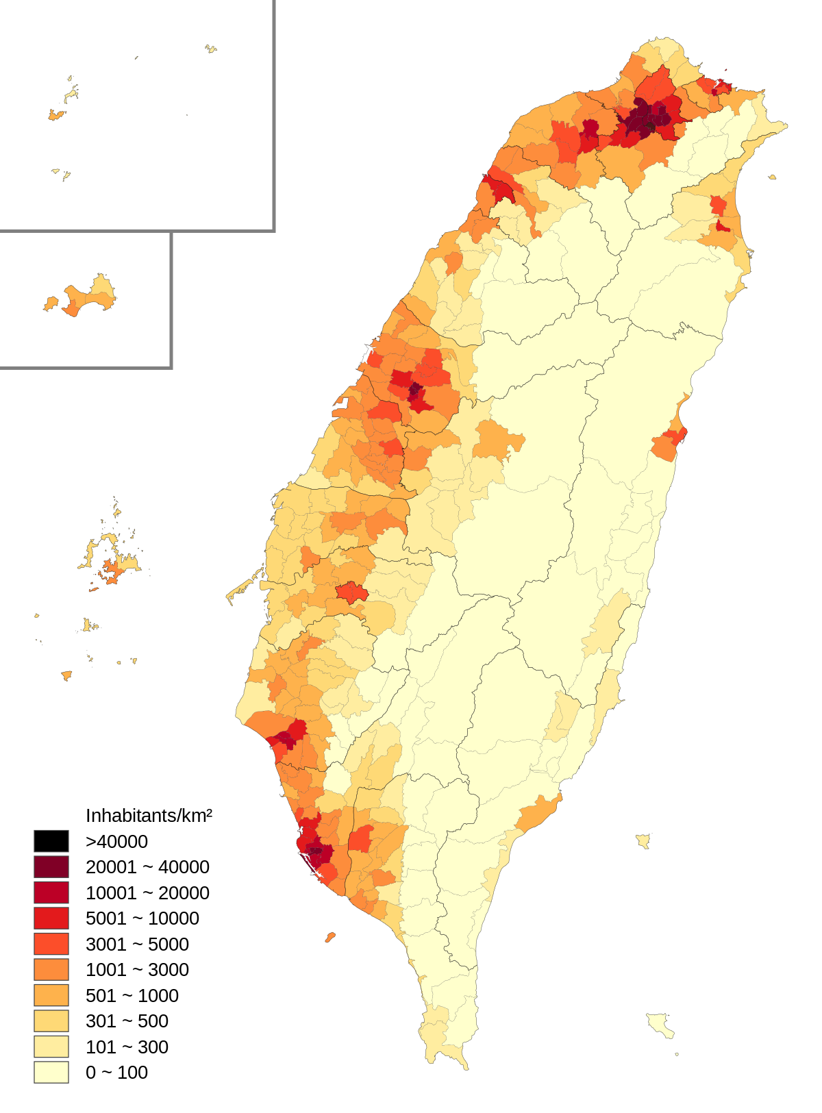Population density of Taiwan by district.svg